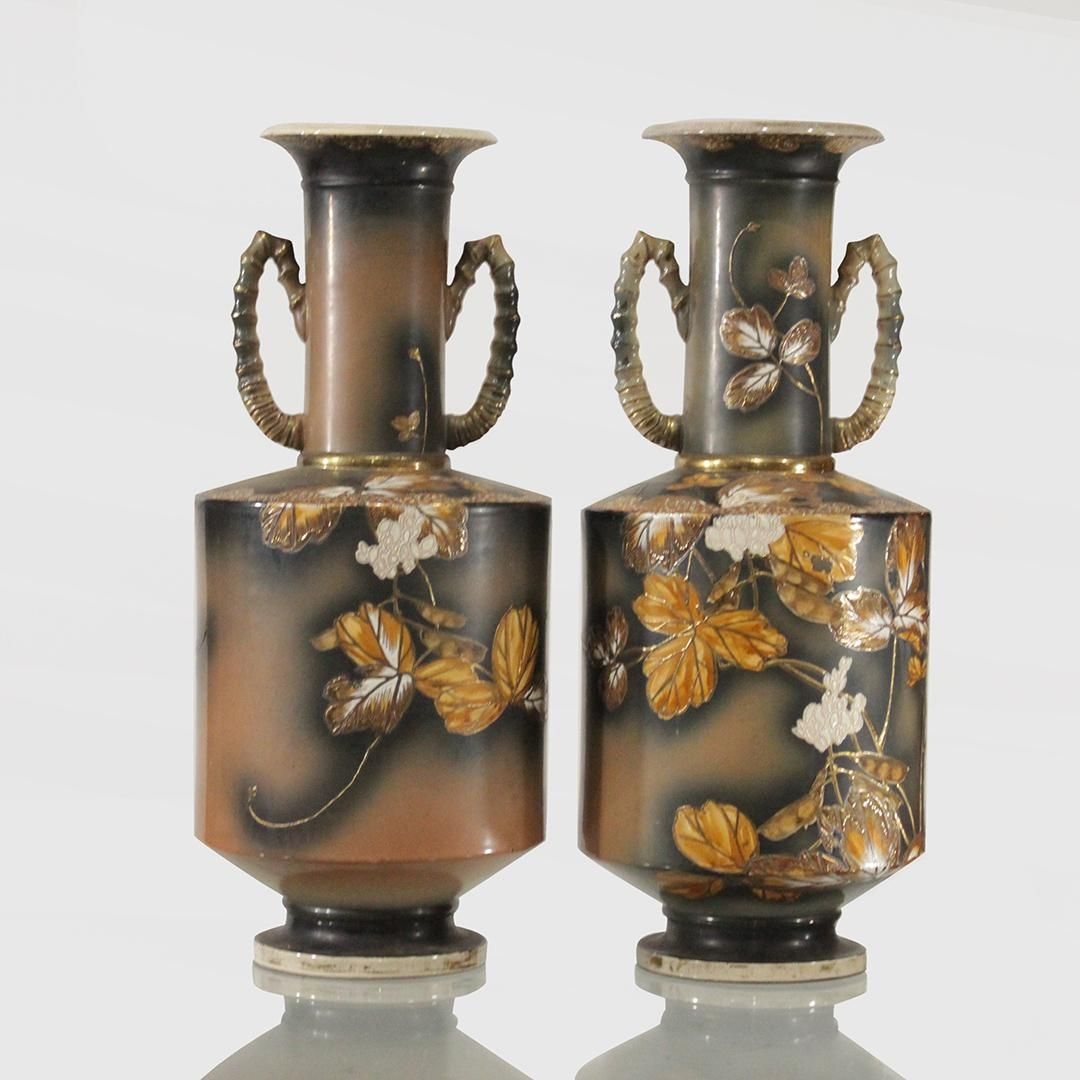 Two [2] Satsuma Temple Urns with Handles, Decorated