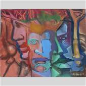 Nicholas Luttinger Large Oilc Abstract Faces