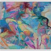 Nicholas Luttinger Large Oil Gay Art Males in Abstract
