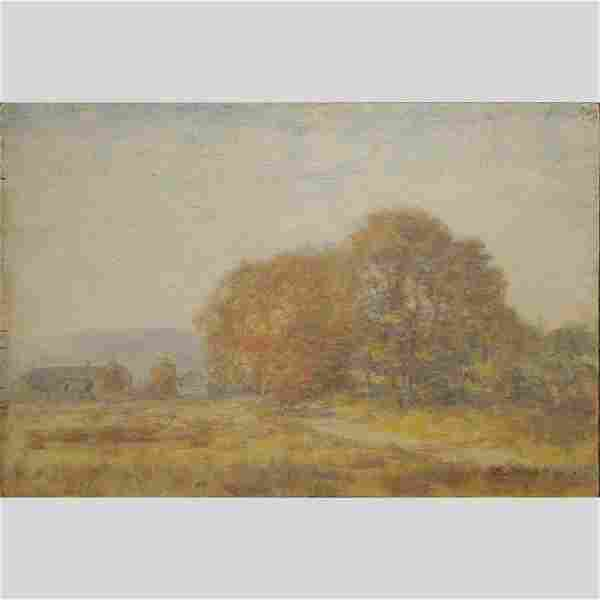 W L Metcalf, Autumn Landscape with Trees Oil/b Painting