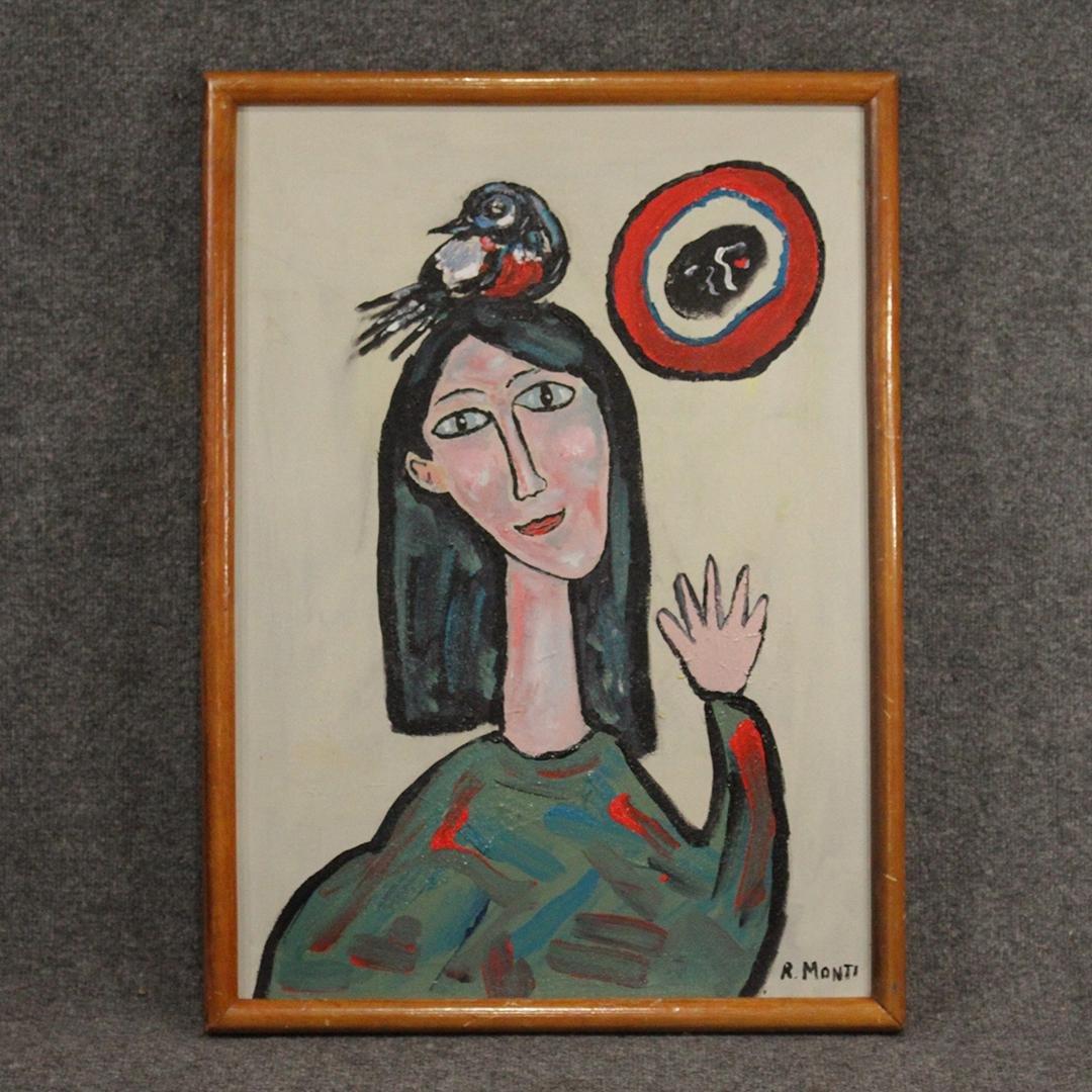 R. Monti, Mid-Century Abstract Girl with Bird on Head