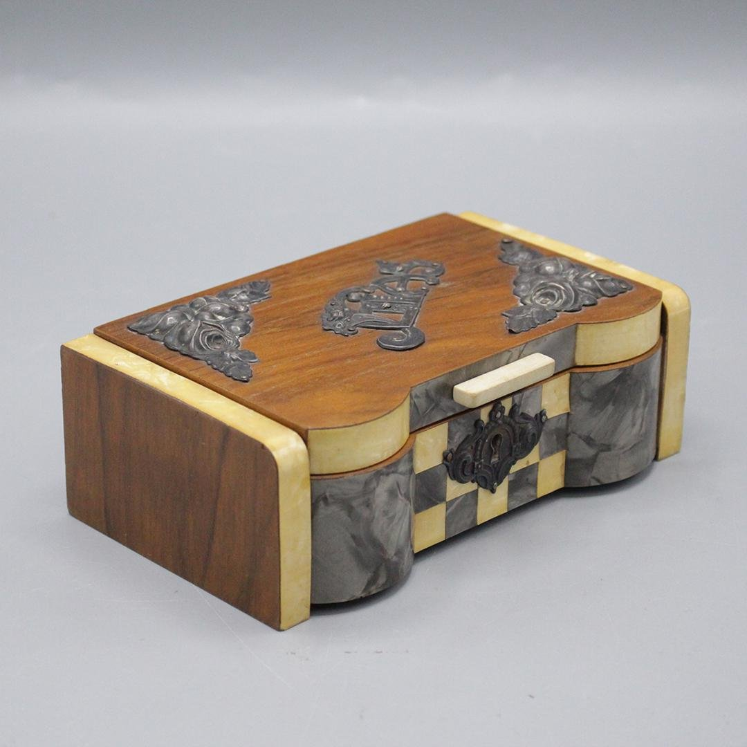 Art Deco Quality Wood Jewelry Box Fabric Interior