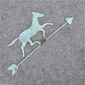 Antique 19th C. Copper Trotting Horse Weathervane Top