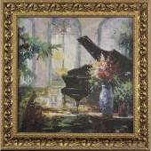 Baby Grand Piano in Interior 20th C Oil Canvas Painting