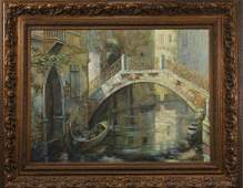 Large Venice Canal Italian Painting, Artist Signed