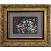 Georges Rouault, Gouache, Portrait Two Clowns, Framed