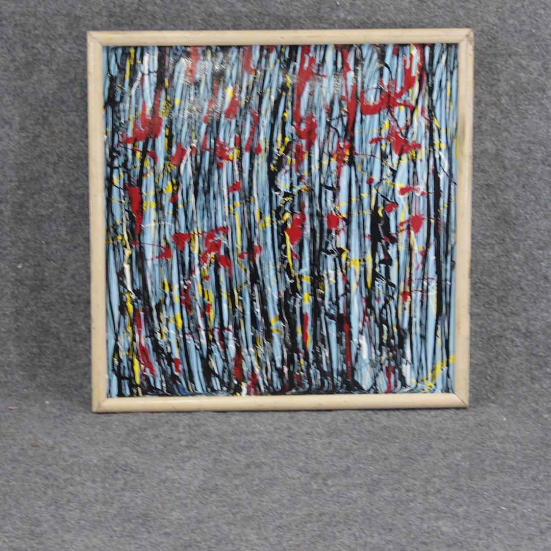 Mid-Century Modern Abstract Oil on Board Framed