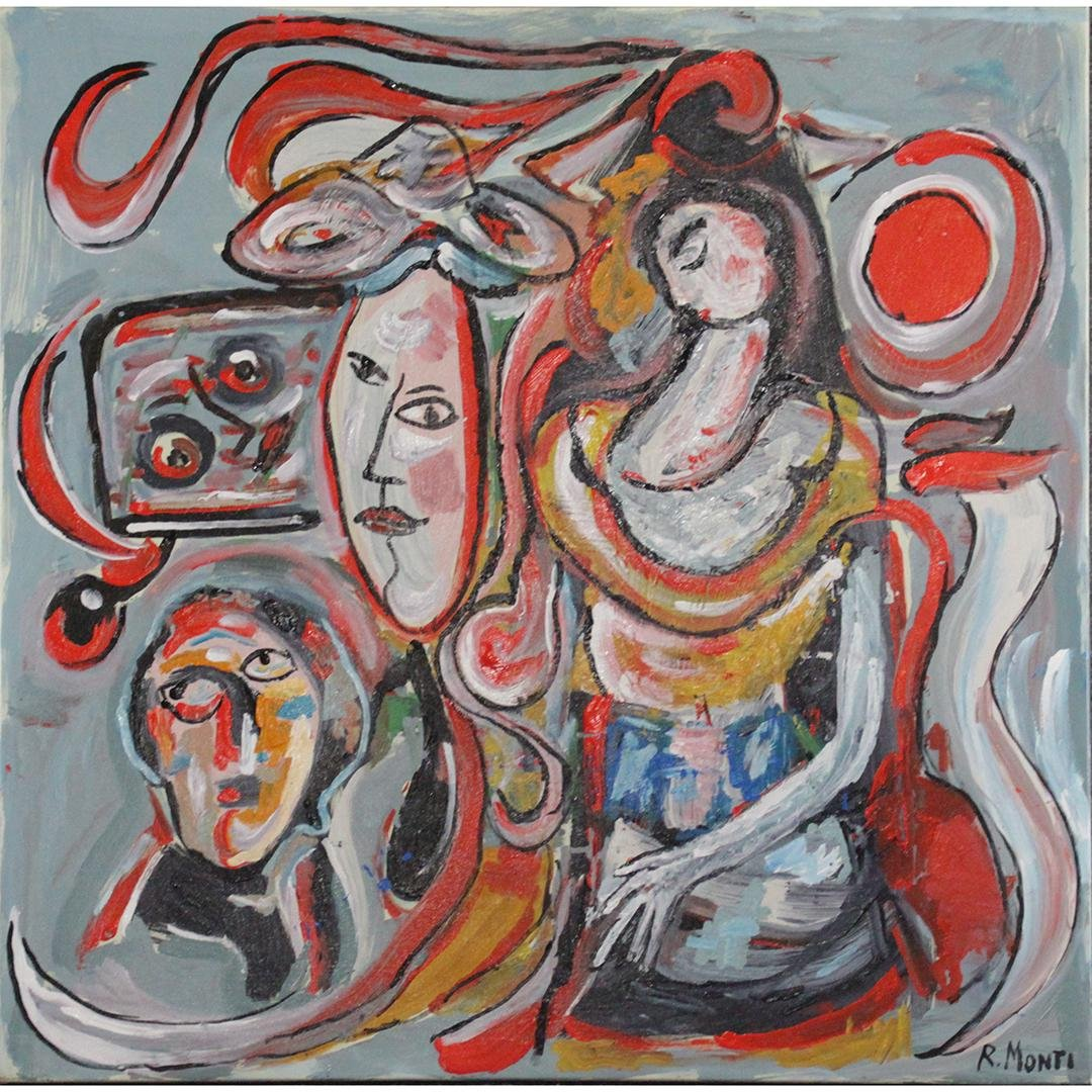 R. Monti , Mid-Century Modern Figure, Faces in Abstract