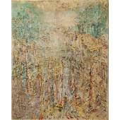 Merritt [Lockwood] Mid-Century Modern Landscape Oil/c