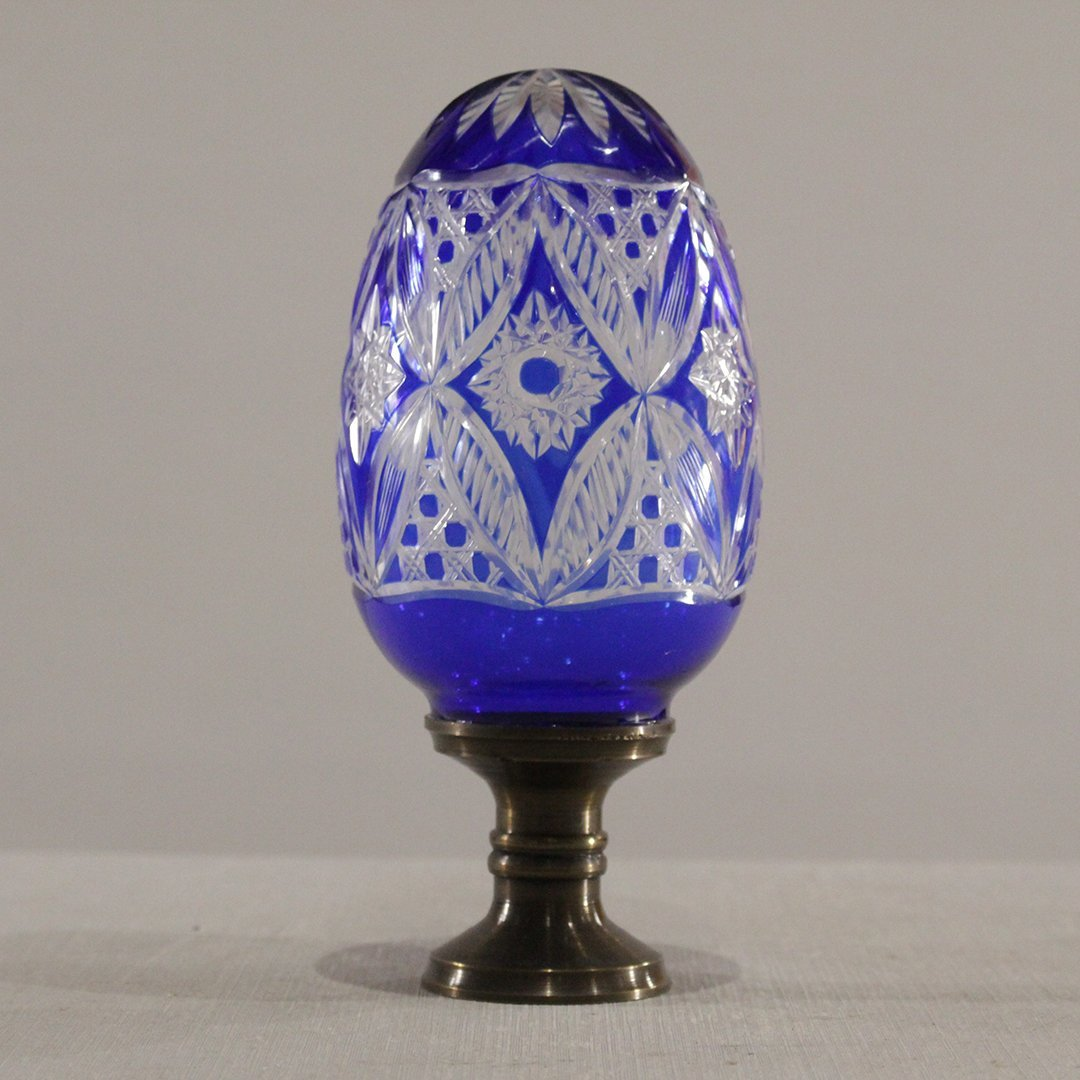 Cobalt Blue Cut Clear Bohemian Glass Newel Post Final