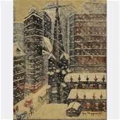 GUY WIGGINS, Blustery Winter New York OLD TRINITY Oil/b