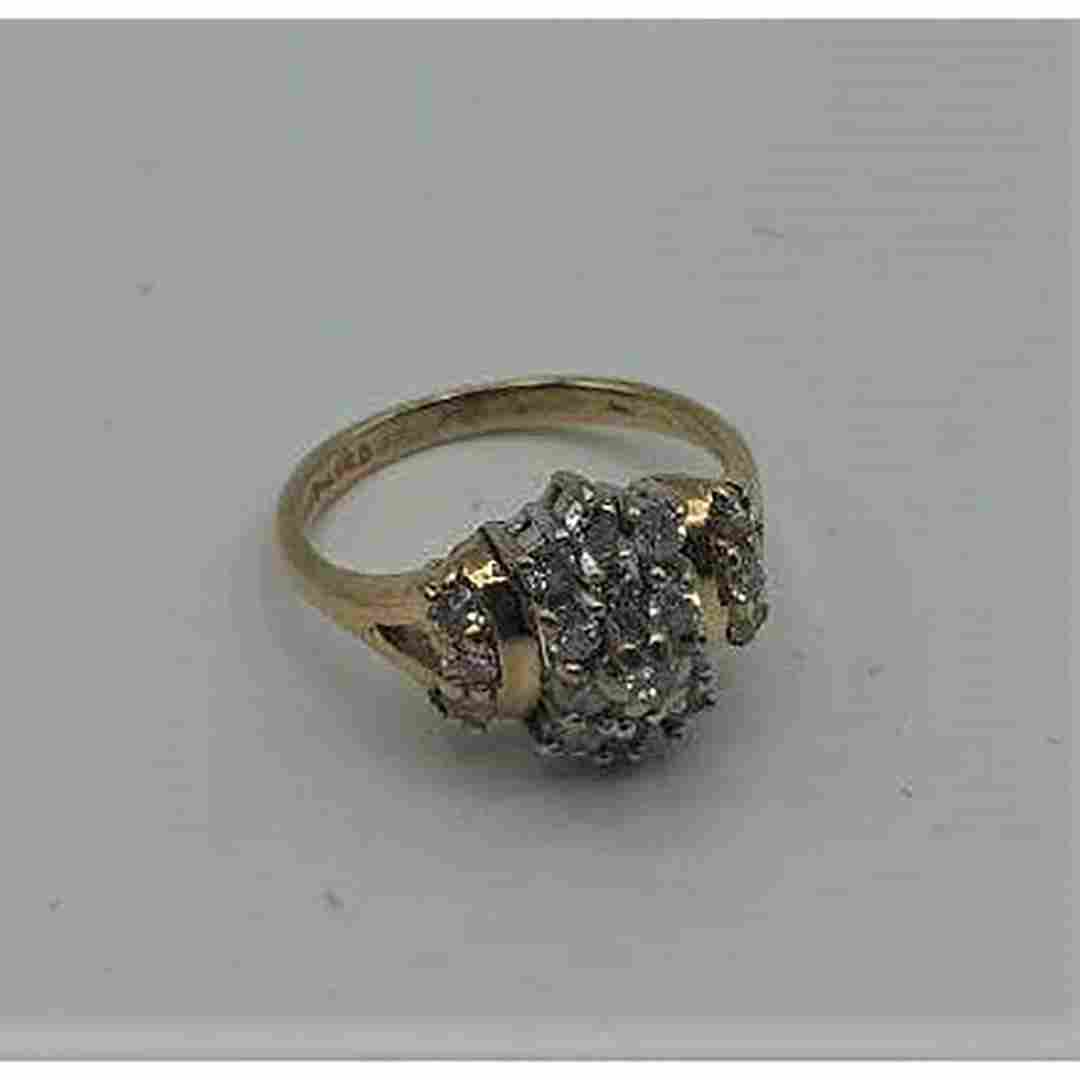 14 K Yellow Gold COCKTAIL RING with 19 DIAMONDS