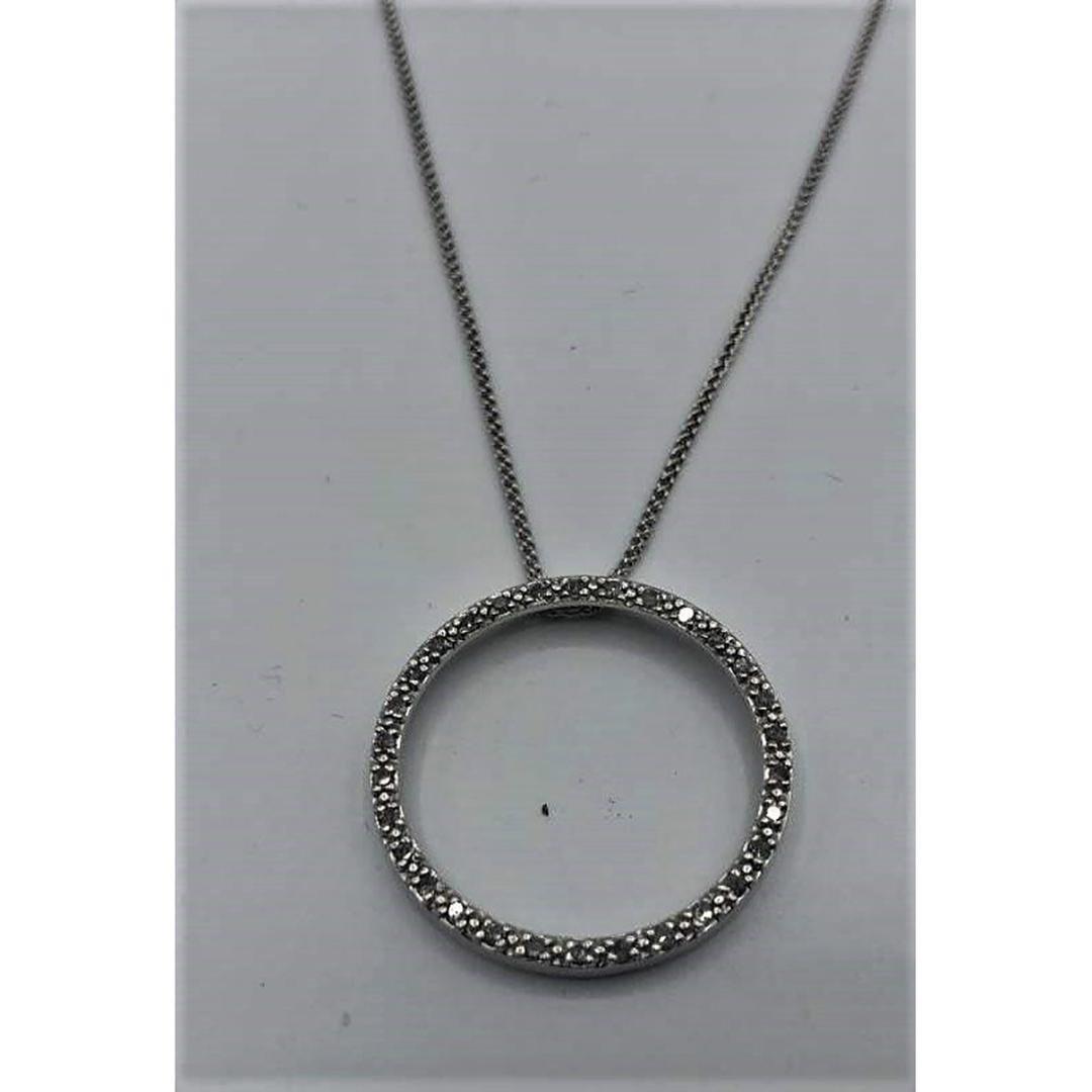 "14 K White Gold and Diamonds ""CIRCLE OF LIFE"" Pendant"