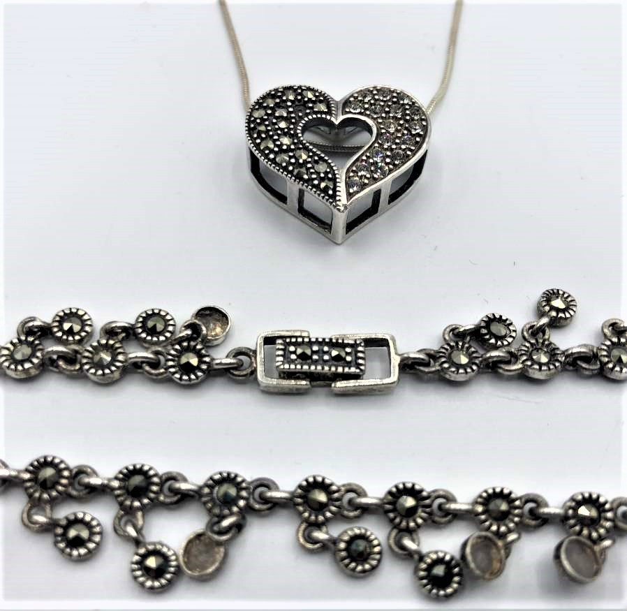 Sterling Silver & Marcasite Heart Necklace and Bracelet