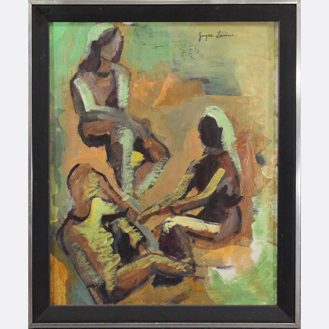 "JOYCE LEVINE, Mid-Century Modern Oil/b ""Paper People"""