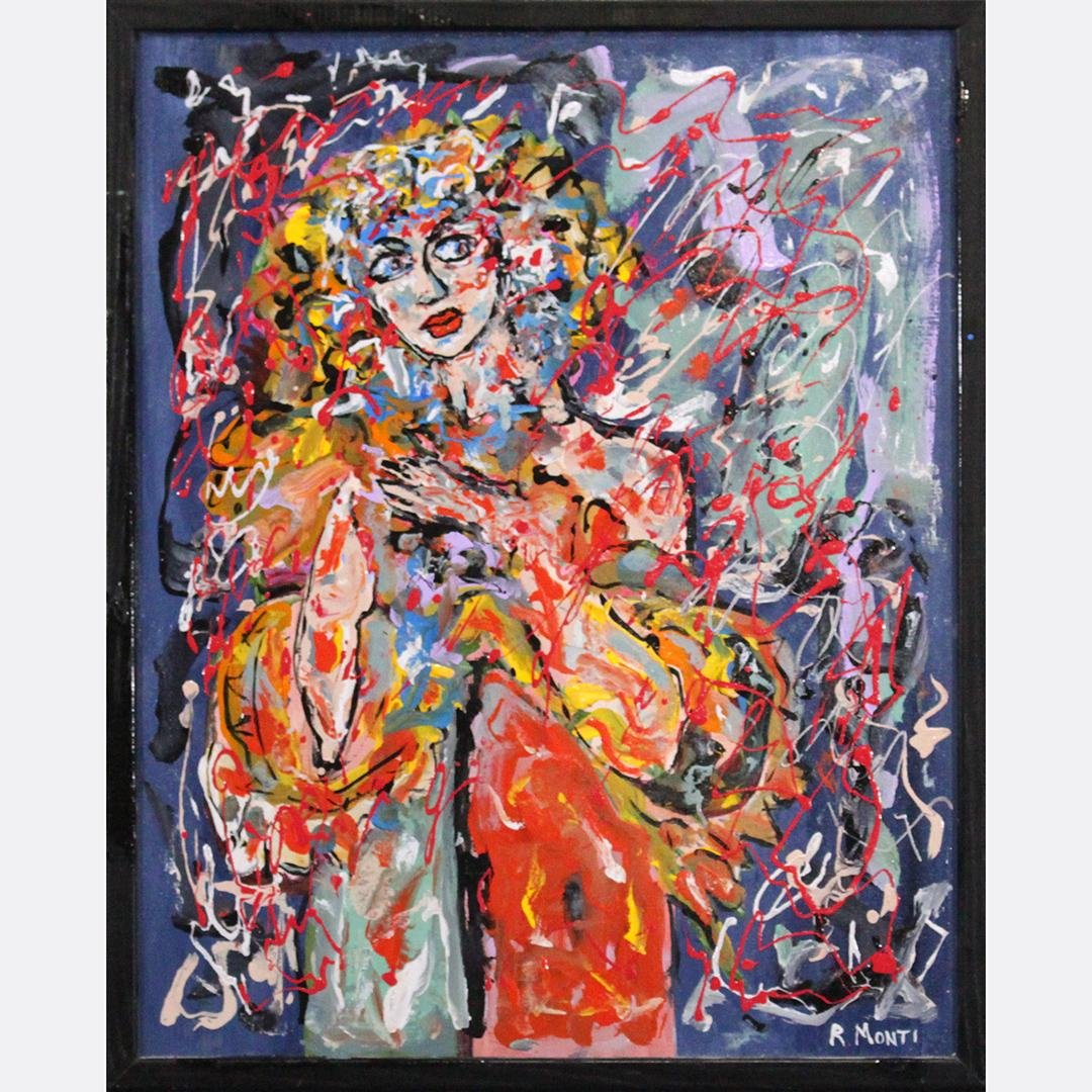 R. MONTI Mid Century Modern WOMAN IN ABSTRACT OIL/C