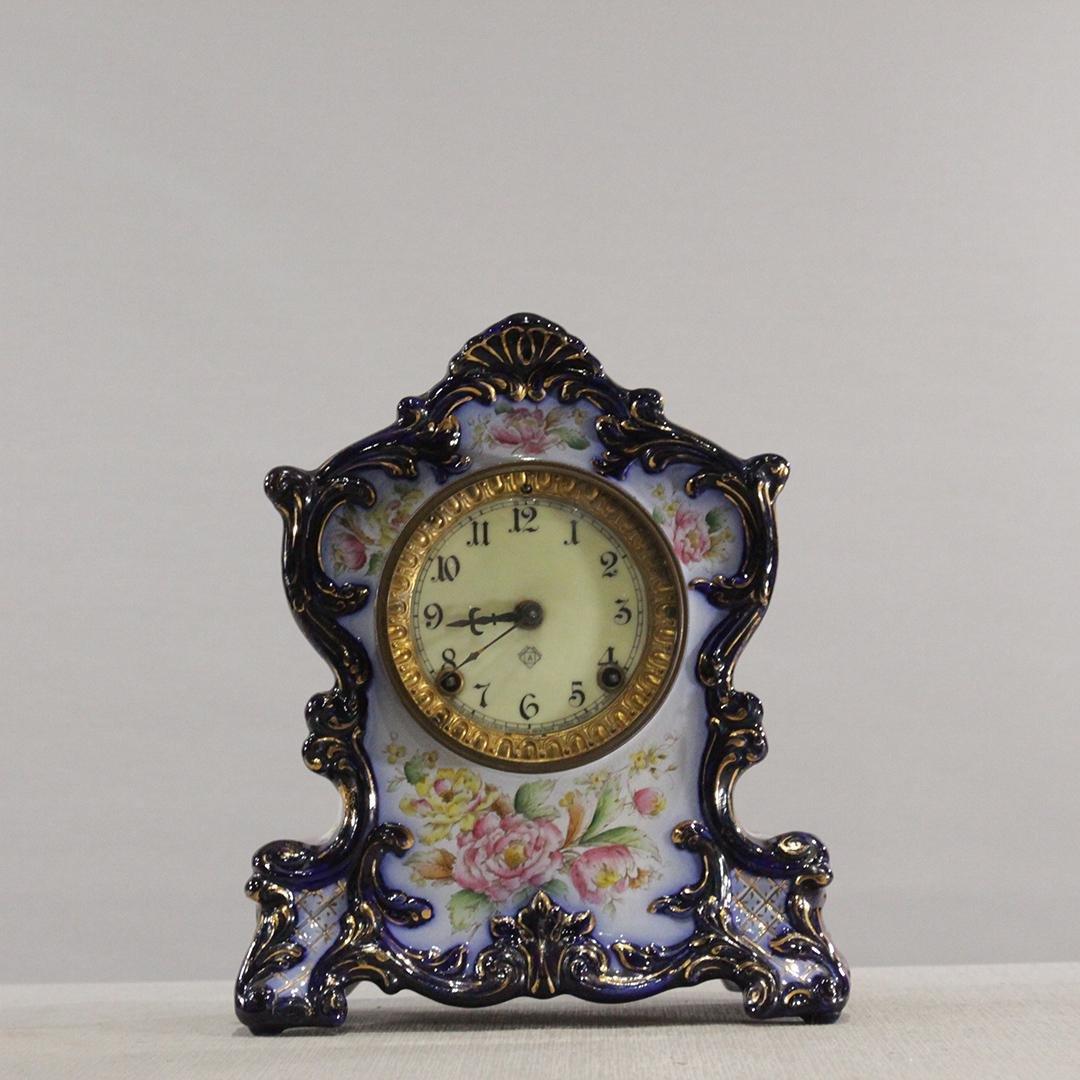 "ANSONIA ""Wyoming"" Cobalt Porcelain Mantle Clock"