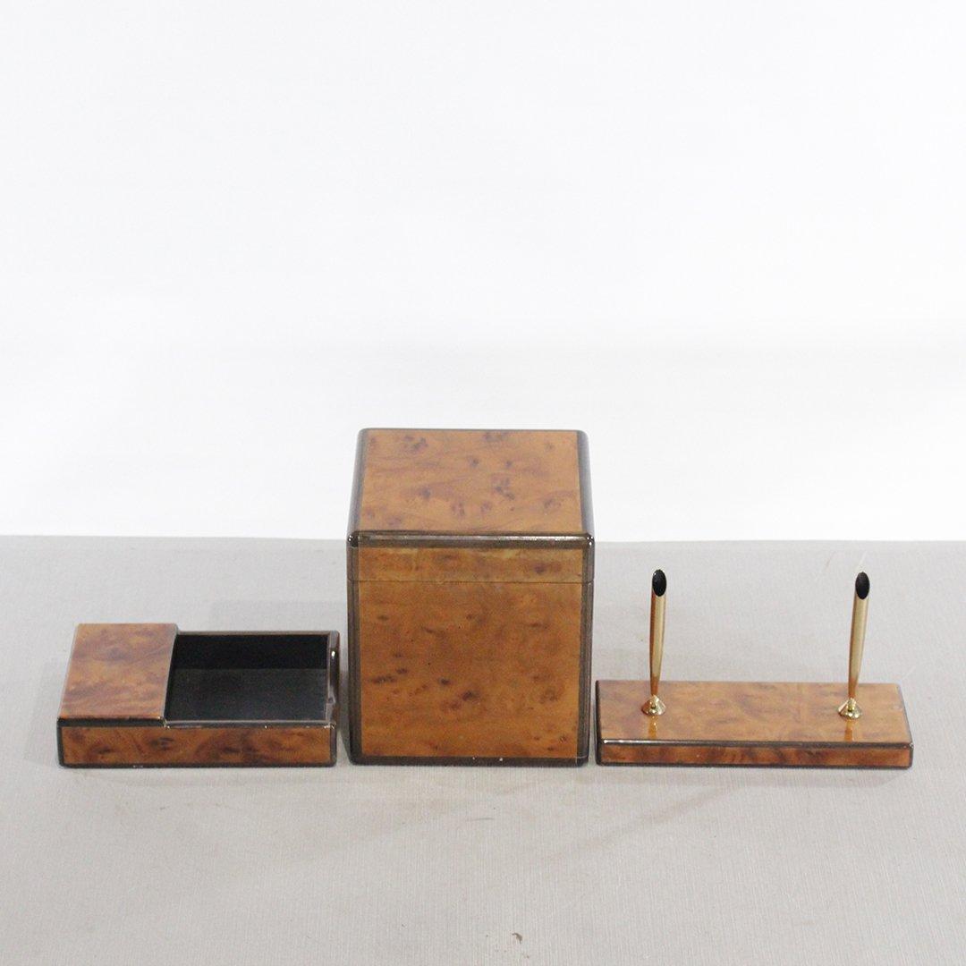 Tiffany & Co. Exotic Burl Wood 3 Piece Desk Set