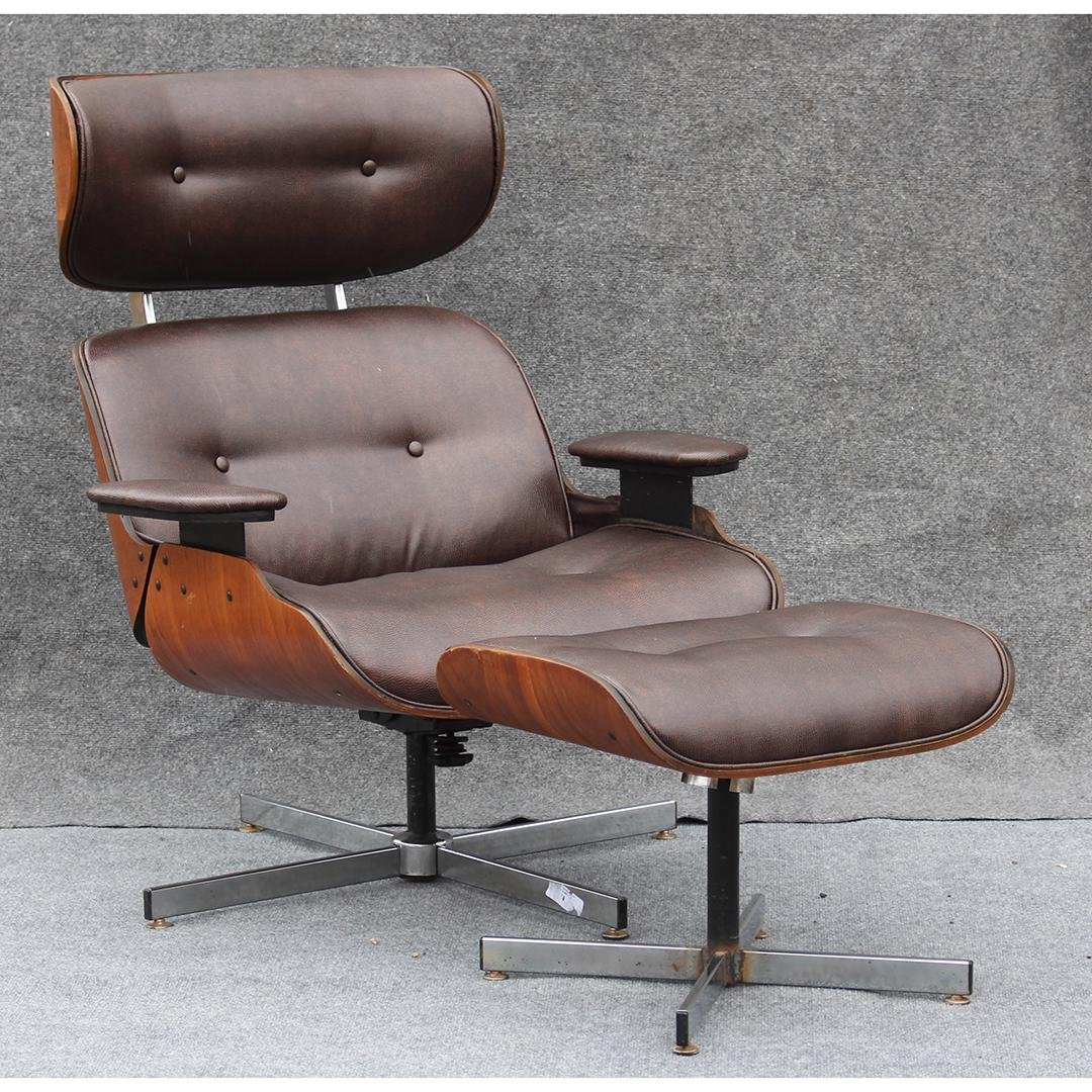 HERMAN MILLER - EAMES STYLE Lounge Chair With Ottoman