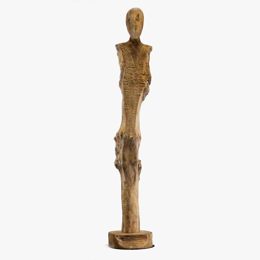Unique GIACOMETTI Style Wood Slender Figure Sculpture
