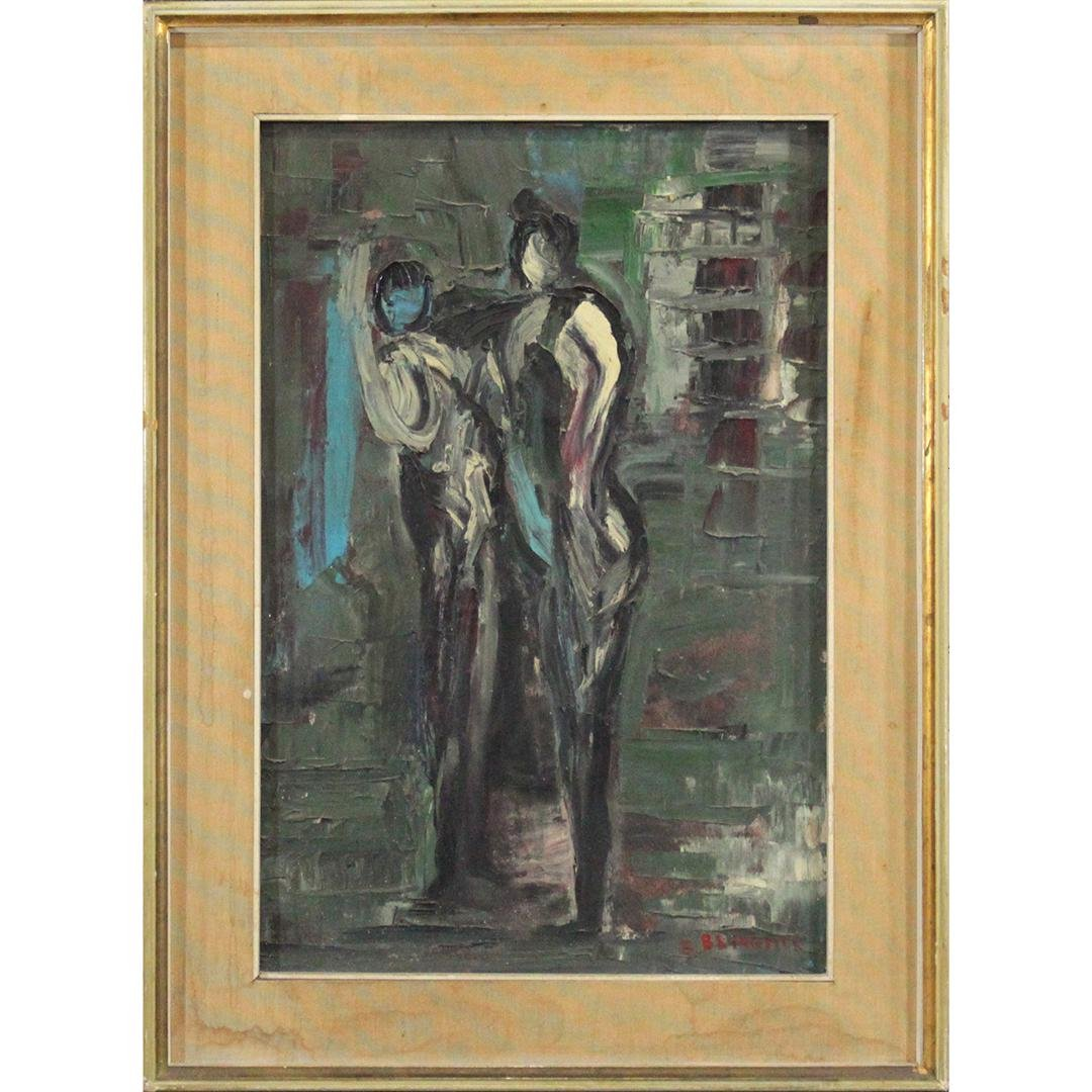 E BRINGHER, Mid-Century Modern Oil/c Two Figures