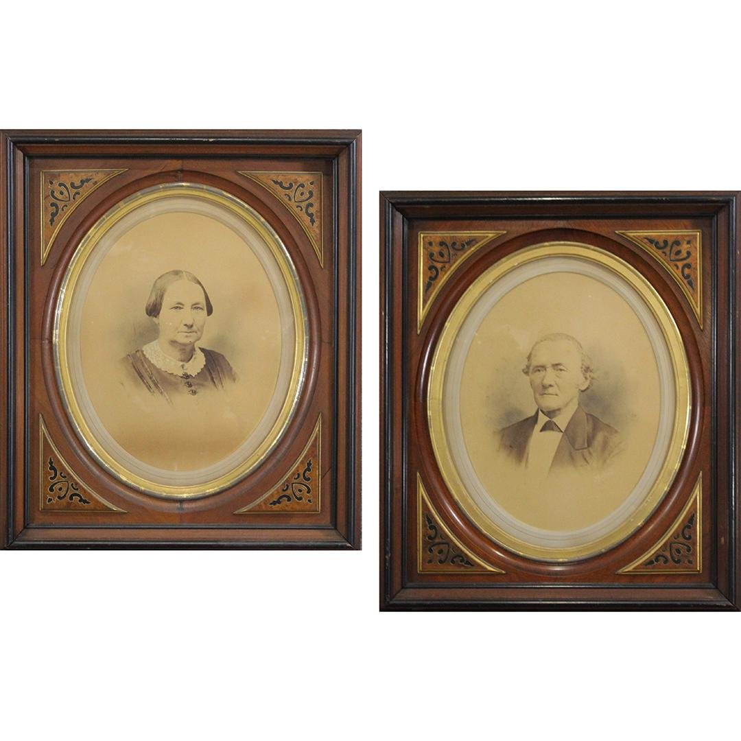 Pair Quality Victorian Walnut Deep Frames, Oval Picture