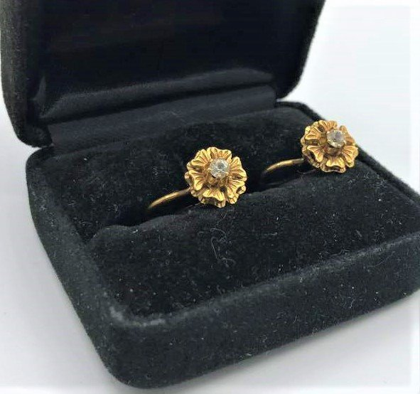 10 K Yellow Gold Floral Earrings with Center CZs Stone