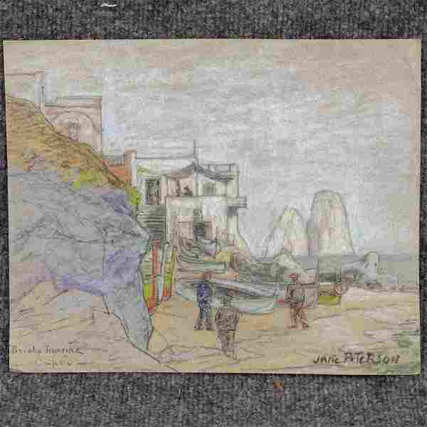 Jane Peterson Attributed, Colored Pencil Drawing Signed