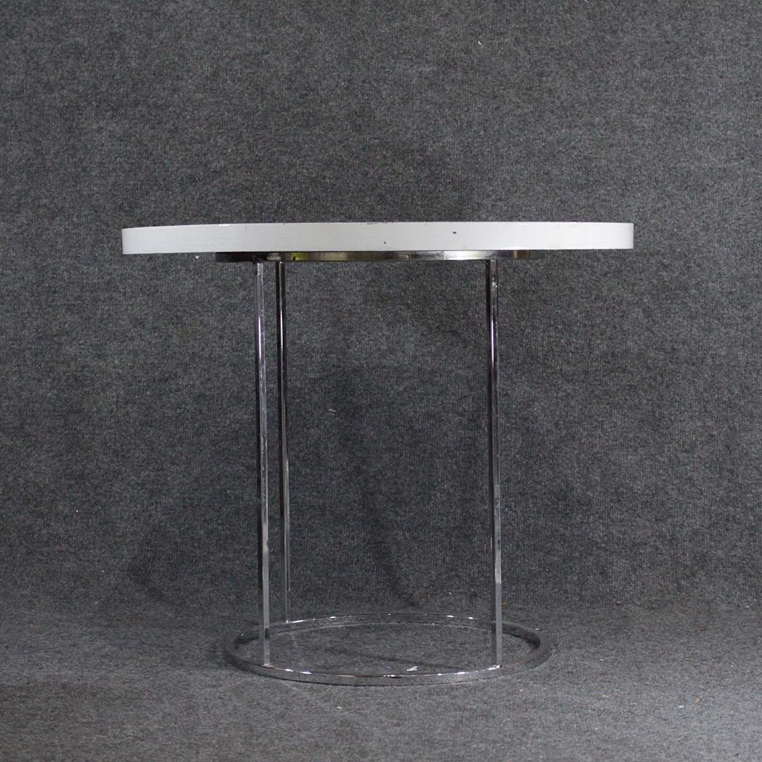 Mid-Century Modern Round Tubular Chrome Stand White Top
