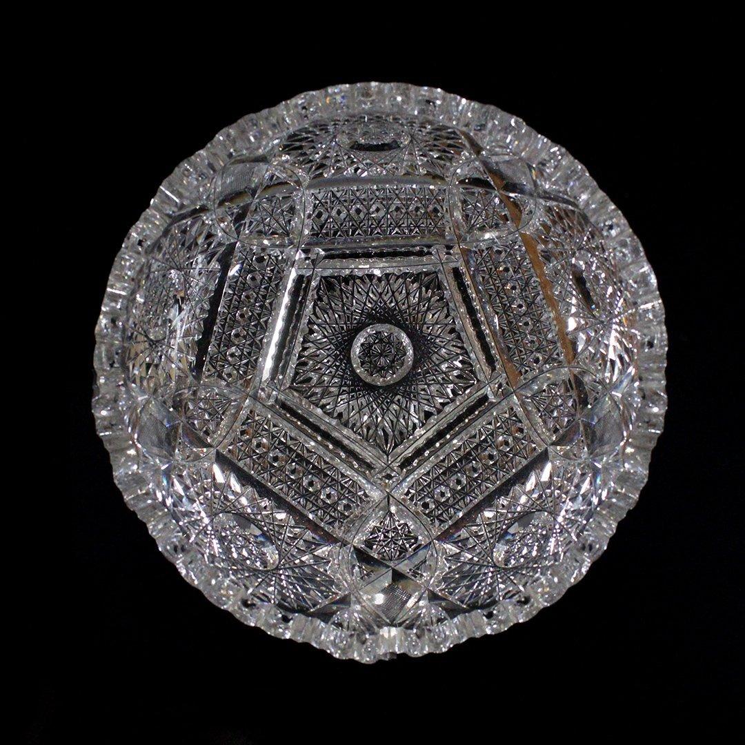 American Brilliant Cut Glass Bowl Pinwheel Daisy Button