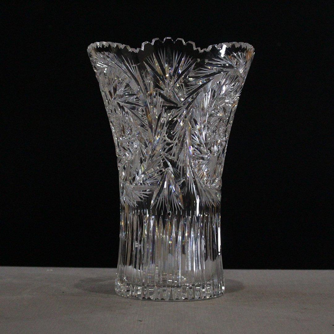 Cut Glass Clear Crystal Flower Vase