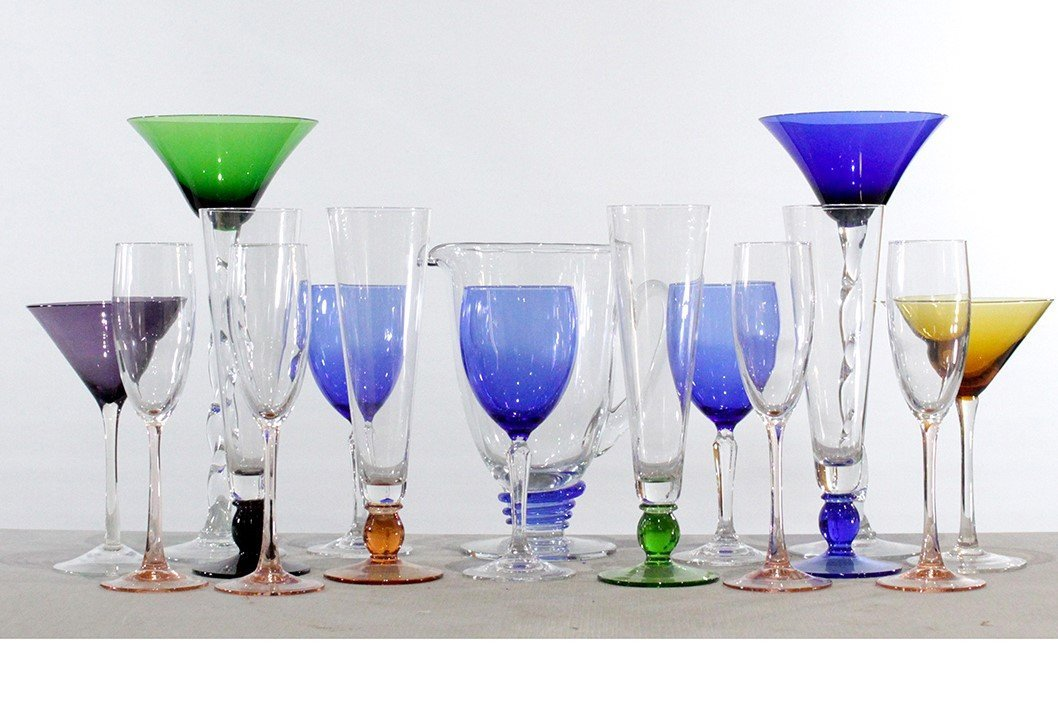 Sixteen [16] Assorted Colored Glass Cocktail Stemware