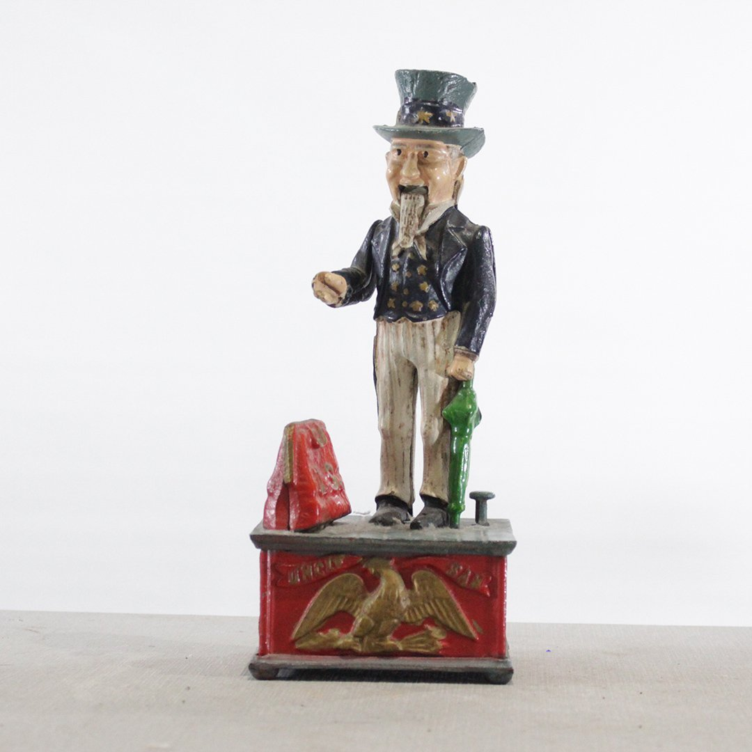 Decorative Cast Iron Uncle Sam Mechanical Coin Bank