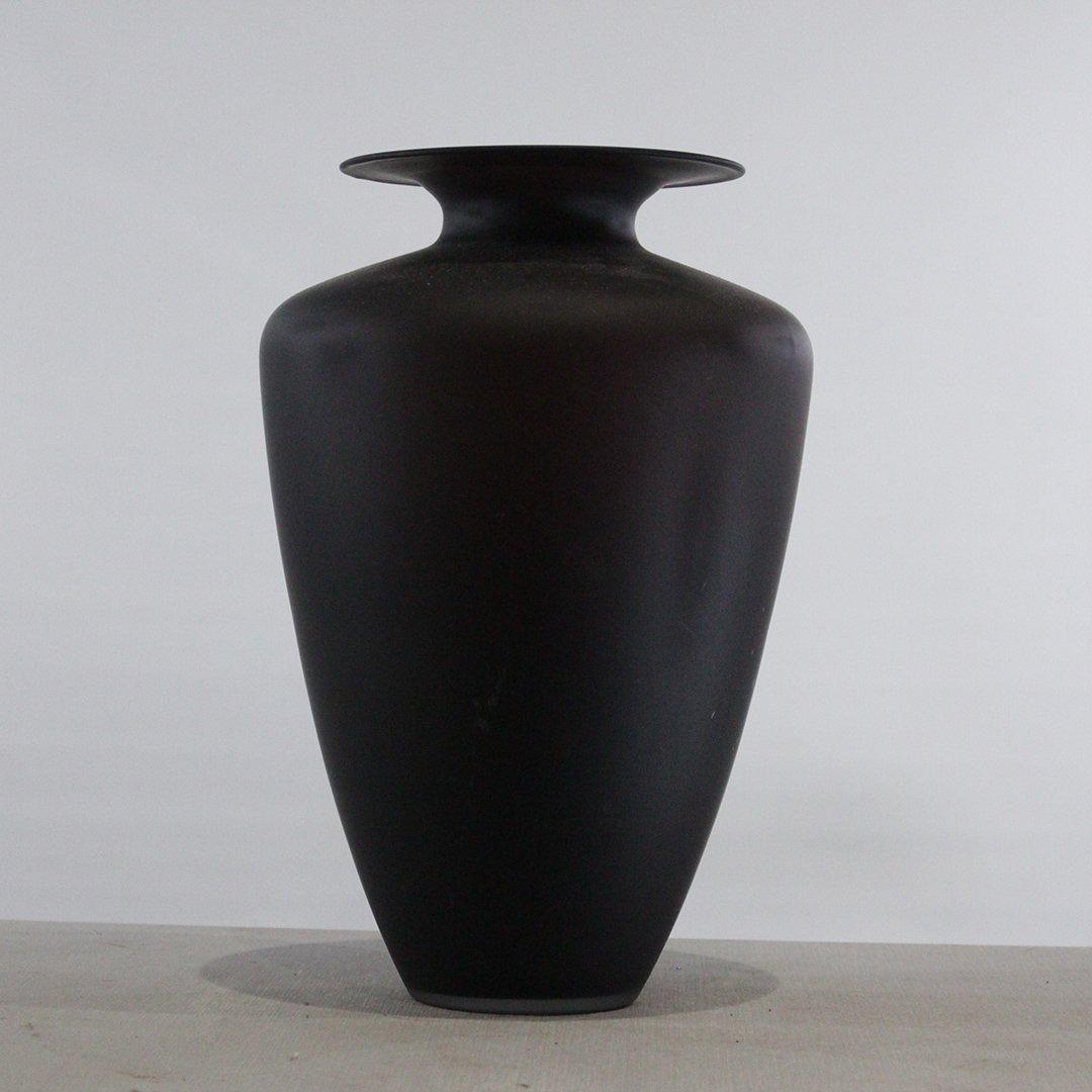Italian Black Satin Glass Vase