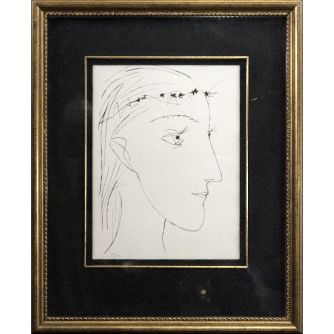 Line Drawing Lithograph of Face #36/200 Quality Framing