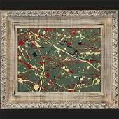 C Hacerban MidCentury Modern Drip Art Abstract Oilc