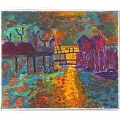 HERMAN ZUCKER, b.1959 Polish / Amer Maine Harbor Sunset