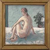 Demuth Circa 1930 Seated Female Nude Oil Painting