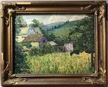 Robert Spencer 1879-1931 Homestead in Landscape Oil/b