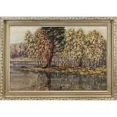 Signed A W Oilc Cove of Birch Trees in Landscape