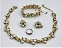 Trifari Set: Necklace, Bracelet, Earrings, Faux Pearls