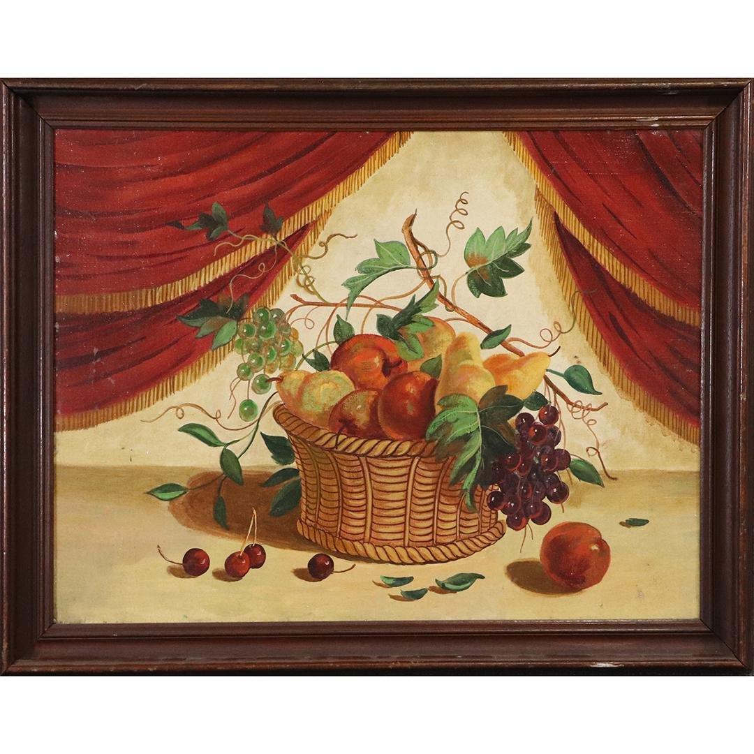 Vintage Still Life Oil Painting Basket of Fruit, Drapes