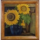 Paul R Meltsner, Oil/c, Sunflowers 1946 Painting.