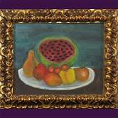 Gates, Naive Still Life Oil Painting Fruits on a Plate