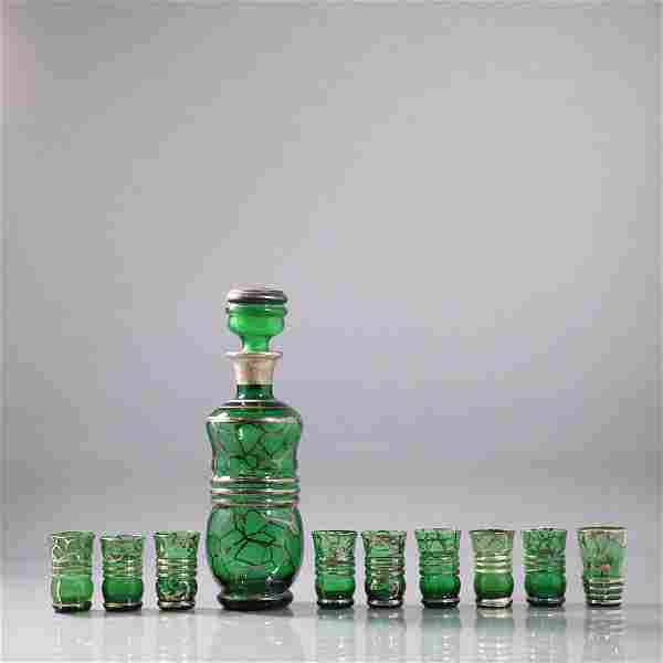 Green Glass Silver Overlay Decanter with 9 Cordials