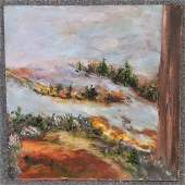 Ruth Simon Impressionist Hilly Landscape Oil Wood Panel