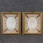 [2] Framed Porcelain Lady Portraits Eastwind / Westwind