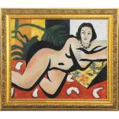 After Henri Matisse, Mid-Century Oil/b Reclining Nude