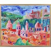 "Herman Zuker Son of Jehudith Sobel Acrylic ""Old City"""