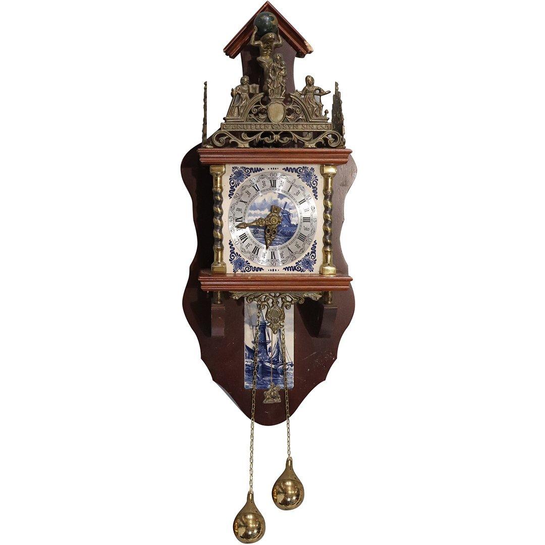 Franz Hermle Delft Tile Holland Wall Clock Bronze Mount